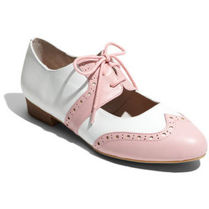 Pink and white oxford shoes
