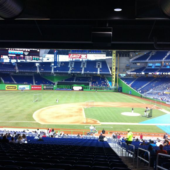 Baseball game at the new Marlin's stadium...