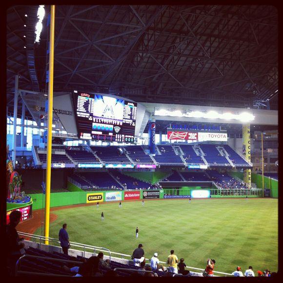 Baseball game at the new Marlin's stadium...